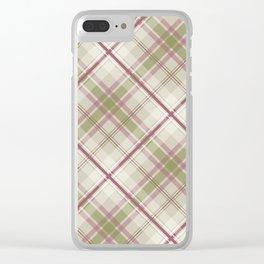 sage raspberry taupe diagonal plaid Clear iPhone Case