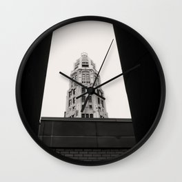 Mather Tower Building Top Chicago Black and White Photo Wall Clock