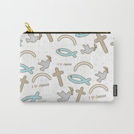 I love Jesus pattern Carry-All Pouch