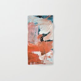 Interrupt [3]: a pretty minimal abstract acrylic piece in pink white and blue by Alyssa Hamilton Art Hand & Bath Towel