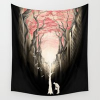 city Wall Tapestries featuring Revenge of the nature II: growing red forest above the city. by Rafapasta