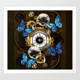 Steampunk Gears and Blue Butterflies Art Print