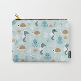 Under the sea Seahorse Squid Turlte print design patern Carry-All Pouch