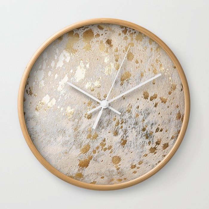 Gold Hide Print Metallic Wall Clock