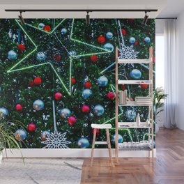 Decorated Christmas Tree, Stars, Balls Wall Mural