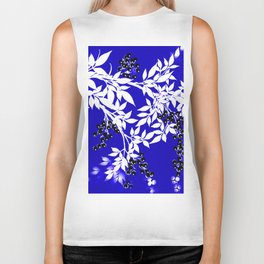 LEAF AND TREE BRANCHES BLUE AD WHITE BLACK BERRIES Biker Tank