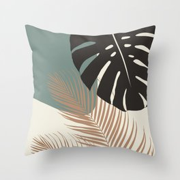 Minimal Monstera Palm Finesse #1 #tropical #decor #art #society6 Throw Pillow