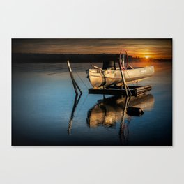 Aluminum Fishing Boat at Sunrise on Stony Lake Canvas Print