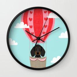 Dachshund doxie dachsie dog breed hot air balloon dog art Wall Clock
