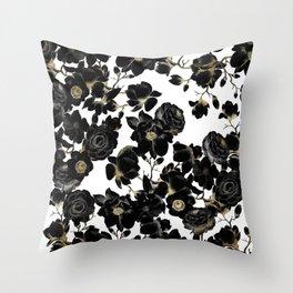 Modern Elegant Black White and Gold Floral Pattern Throw Pillow