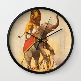 1880 Circus Show Elephant Riding a Bicycle with Lion on its back poster Wall Clock