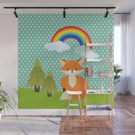 Fox, Rainbow , nursery decor , children gift, birthday gift Wall Mural
