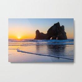 Wharariki Beach, New Zealand Metal Print