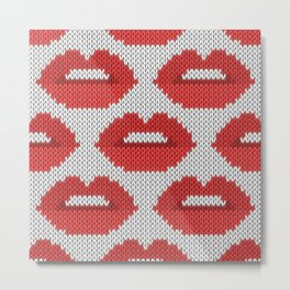 Lips pattern - white Metal Print