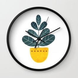 Yellow pot Wall Clock