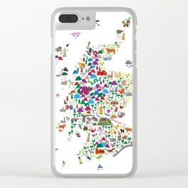 Animal Map of Scotland for children and kids Clear iPhone Case