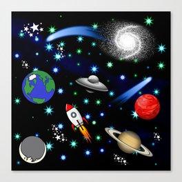 Galaxy Universe - Planets, Stars, Comets, Rockets Canvas Print