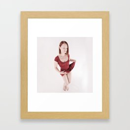 1123s-MM Redhead Wearing Little Red Dress Commando Style Framed Art Print