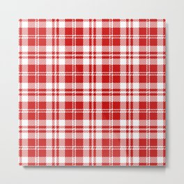 Cozy Plaid in Red and White Metal Print