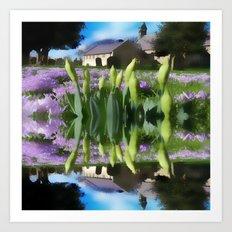 Church flowers in reflection Art Print
