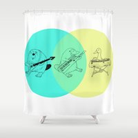 platypus Shower Curtains featuring Key-tar Platypus Venn Diagram by Guy Blank