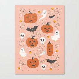 Pumpkin Party on Blush Pink Canvas Print