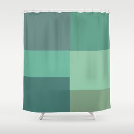 Green Squares Shower Curtain
