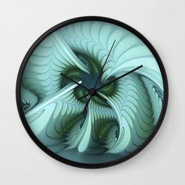 Green Lights in a blue Fantasy Fractal Wall Clock