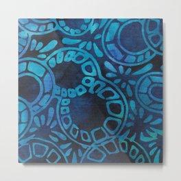 Blue Batik 09 Metal Print
