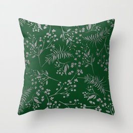 Forest green country chic faux silver floral leaves Throw Pillow