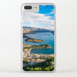 Queenstown Panorama at golden hour, New Zealand. Clear iPhone Case