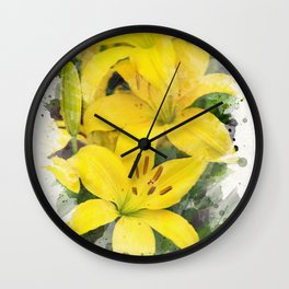 Lily Watercolor Art Wall Clock