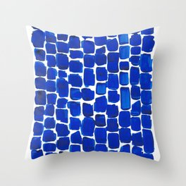 Brick Stroke Blue Throw Pillow