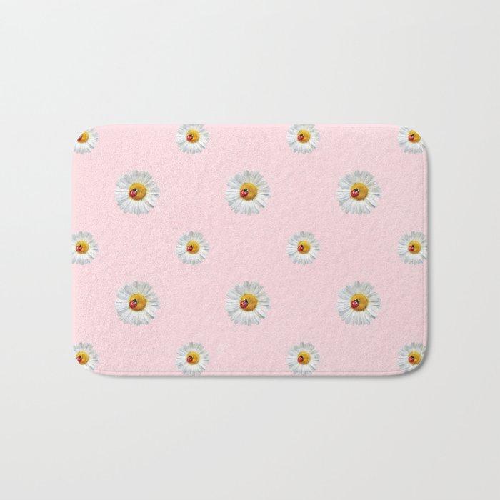 Flower Flowers Daisies in love- pink floral pattern Bath Mat