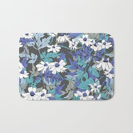 Floral Forest in Blue Bath Mat