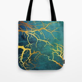 Golden Tree Branches on Turquoise and Green Watercolor Texture Tote Bag