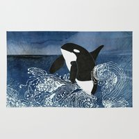 killer whale Area & Throw Rugs featuring Killer Whale Orca by Aquamarine Studio