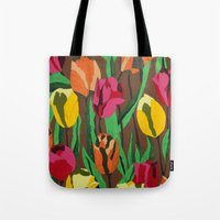 tulips Tote Bags featuring Tulips  by Marjolein