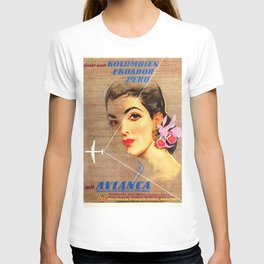 Avianca Airline - Vintage Columbian Travel Poster T-shirt
