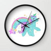 my little pony Wall Clocks featuring My Little Pony Unicorn by lolia