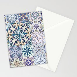Big set of tiles in portuguese, spanish, italian style. Vintage abstract floral illustration patttern. Stationery Cards