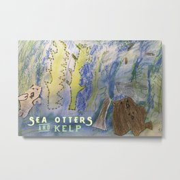 Sea Otters and Kelp Metal Print