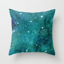 Watercolor galaxy - teal Throw Pillow