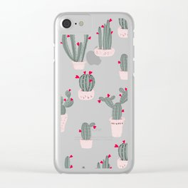 Love in the Desert Cacti Pattern Clear iPhone Case