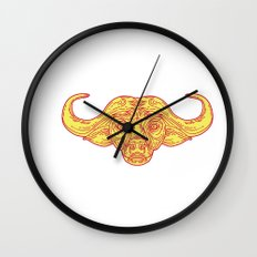 African Buffalo Head Mono Line Wall Clock