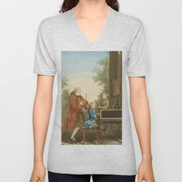 The Mozart family on tour: Leopold, Wolfgang, and Nannerl. Watercolor by Carmontelle, ca. 1763 Unisex V-Neck
