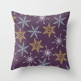 Shiny Winter Purple Throw Pillow