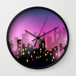 City silhouettes of different colors on red Wall Clock
