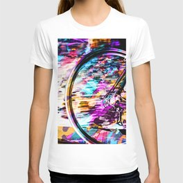bicycle wheel with colorful abstract background in pink blue orange T-shirt