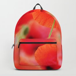poppies square mural, in closeup Backpack